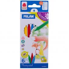 Мелки восковые Milan - 6 цветов - Закругленные