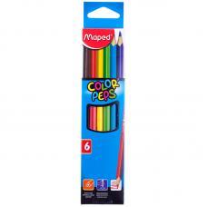 Карандаши Maped Color Peps - 6 цветов - заточенные, 3-гранные