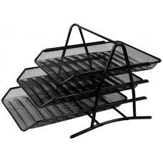 Лоток горизонтальный металлический сборный Deli - 3 отделения - Черный