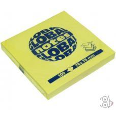 Стикеры Global Notes - 75*75 мм - 80 листов - Желтый неоновый