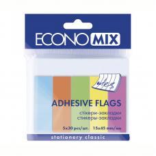 Закладки бумажные клейкие ECONOMIX - 45*15 мм - 5 цветов