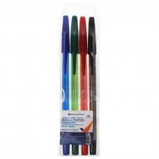 Набор шариковых ручек - 4 цвета - Полупрозрачный цветной корпус