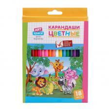 Набор цветных карандашей ArtSpace Зверята - 18 цветов