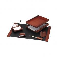 Набор настольный деревянный Delucci - 6 предметов - Темно-коричневый орех