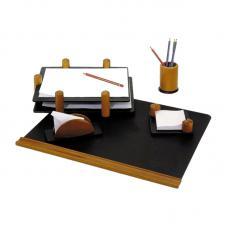 Набор настольный деревянный Delucci - 5 предметов - Светло - черное дерево