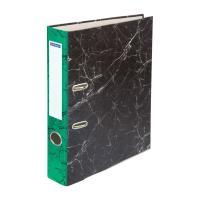 Папка-регистратор OfficeSpace - 50 мм - Черный мрамор - Зеленый корешок