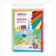 Набор цветного картона ArtSpace - А4 - 8 листов - 8 цветов - Немелованный