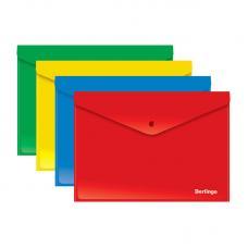 Папка-конверт на кнопке Berlingo - А4 - 180 мкм - Цвета ассорти