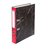 Папка-регистратор OfficeSpace - 50 мм - Черный мрамор - Красный корешок