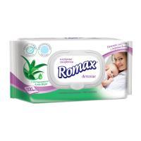 Салфетки влажные Romax - 100 шт - С Алоэ Вера