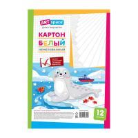 Набор белого картона ArtSpace Морской котик - А4 - 12 листов - Немелованный