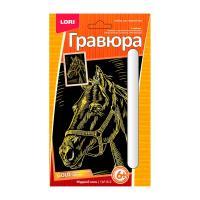 Гравюра Lori голографическая Мудрый конь - 10*15 см - Золото