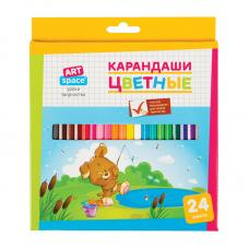 Карандаши цветные ArtSpace Зверята - 24 цвета - Заточенные