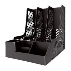 Лоток вертикальный Deli - Пластик - 3 секции - Черный