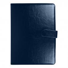 Папка А4 - На кнопке - Синяя - С калькулятором и бумажным блоком для записей
