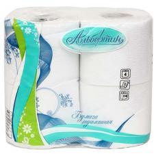 Бумага туалетная Альбертин - 4 рулона - Ширина 90 мм - Белая