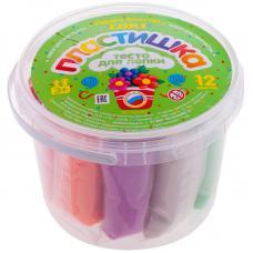 Тесто для лепки Пластишка - 12 цветов*30гр - пластиковый стакан