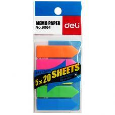 Закладки Deli - Пластиковые - 44*12 мм - 20 листов - 5 цветов