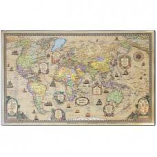 Коврик настольный пластиковый - 38*59 см - Карта мира ретро