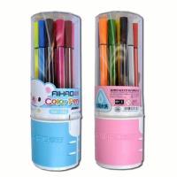 Фломастеры Deli в пластиковом пенале - 12 цветов