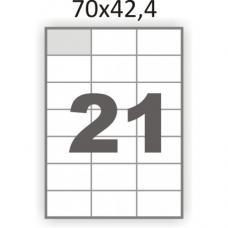 Наклейки бумажные ePrimo - А4 - 21 на листе - 70*42,4 мм - 100 листов
