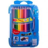 Карандаши Maped Color Peps - 12 цветов и 1 мини чернографитный карандаш - Трехгранные - Заточенные - Пластиковый пенал - Точилка - Ластик