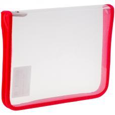 Папка для тетрадей - 1 отделение- А5 - прозрачная/красная - пластик - молния вокруг